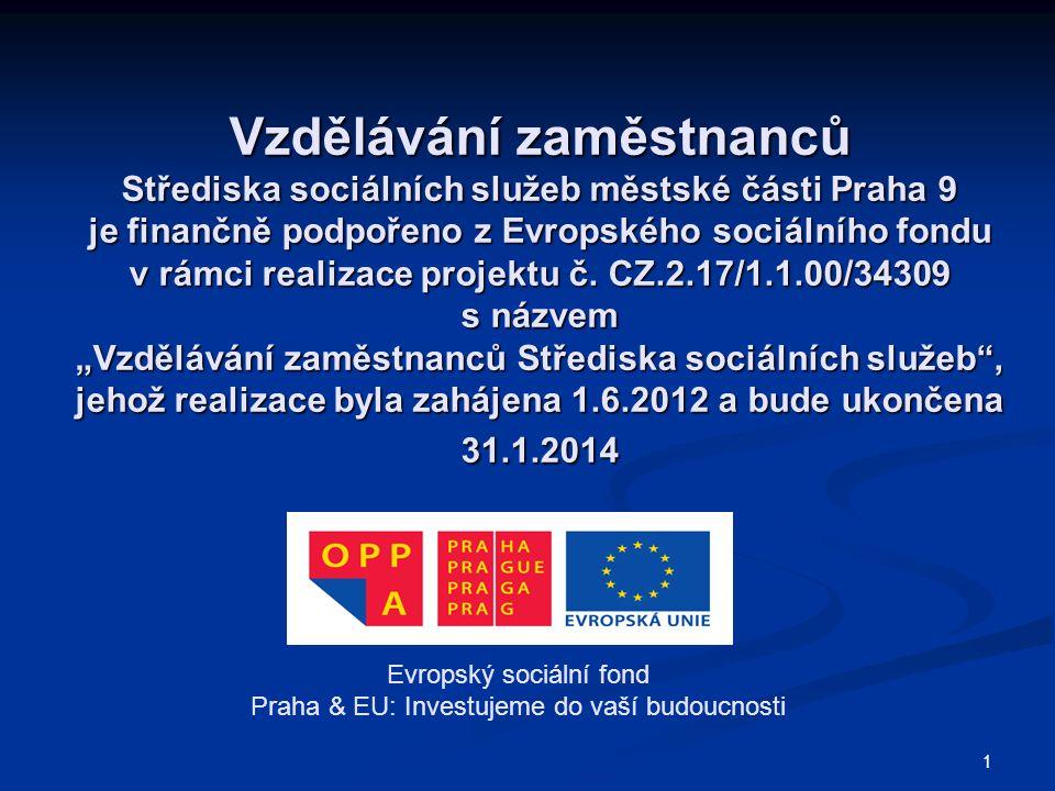 Vzdělávání zaměstnanců Střediska sociálních služeb městské části Praha 9 je finančně podpořeno z Evropského sociálního fondu v rámci realizace projektu č.