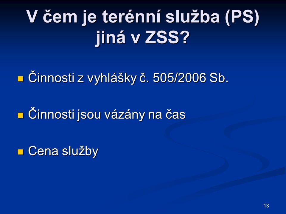 V čem je terénní služba (PS) jiná v ZSS. Činnosti z vyhlášky č.
