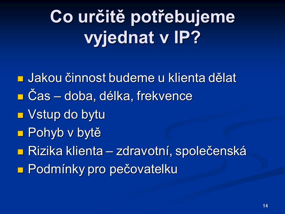 Co určitě potřebujeme vyjednat v IP.