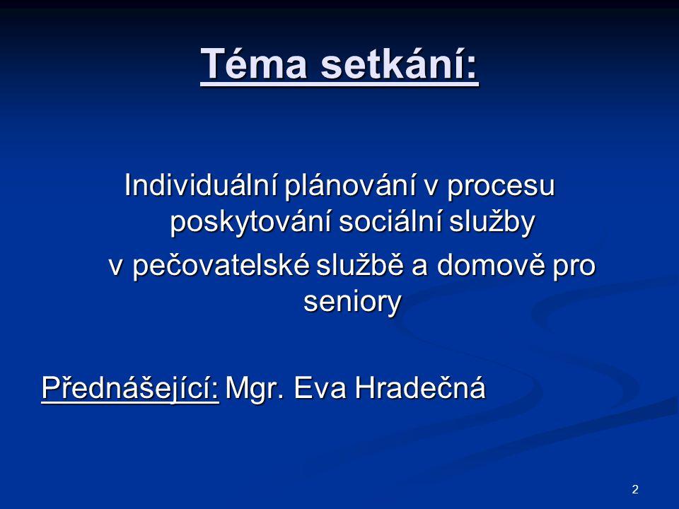 Téma setkání: Individuální plánování v procesu poskytování sociální služby v pečovatelské službě a domově pro seniory v pečovatelské službě a domově pro seniory Přednášející: Mgr.
