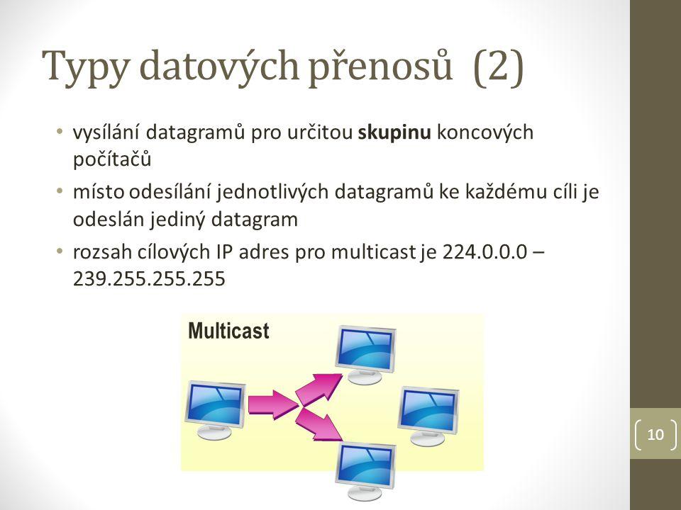 Typy datových přenosů (2) vysílání datagramů pro určitou skupinu koncových počítačů místo odesílání jednotlivých datagramů ke každému cíli je odeslán jediný datagram rozsah cílových IP adres pro multicast je 224.0.0.0 – 239.255.255.255 10 Multicast