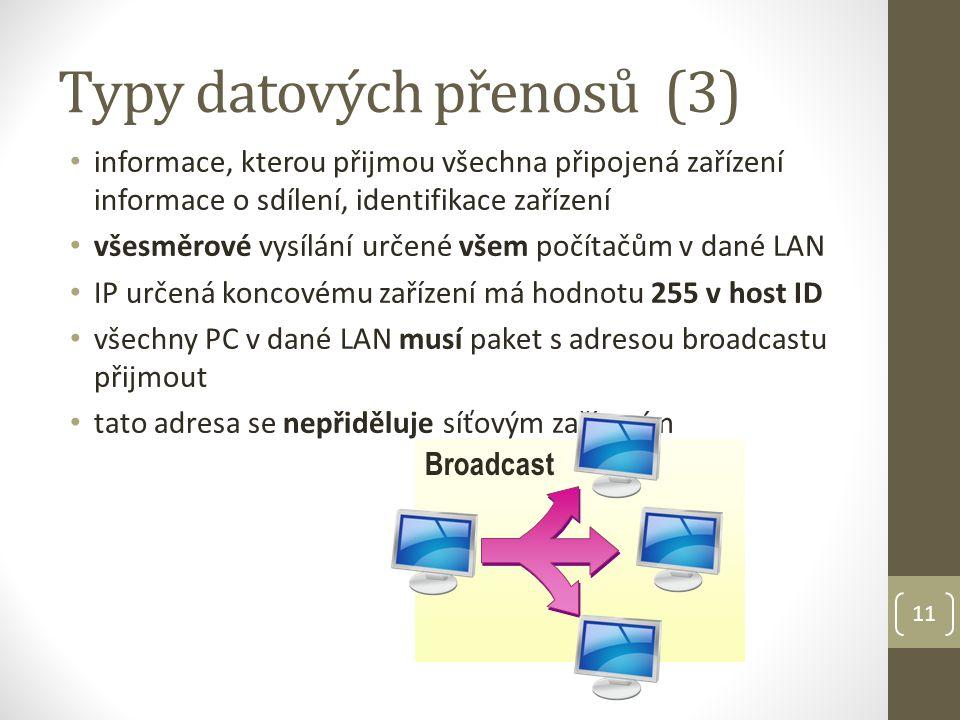Typy datových přenosů (3) informace, kterou přijmou všechna připojená zařízení informace o sdílení, identifikace zařízení všesměrové vysílání určené všem počítačům v dané LAN IP určená koncovému zařízení má hodnotu 255 v host ID všechny PC v dané LAN musí paket s adresou broadcastu přijmout tato adresa se nepřiděluje síťovým zařízením 11 Broadcast