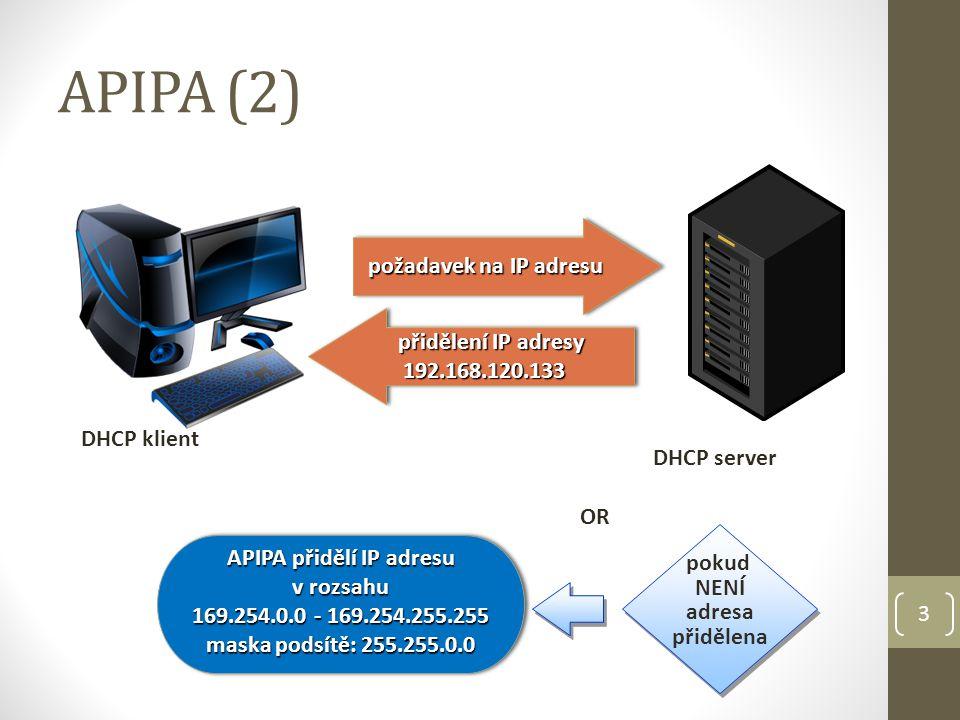 APIPA (2) 3 přidělení IP adresy 192.168.120.133 přidělení IP adresy 192.168.120.133 DHCP klient DHCP server požadavek na IP adresu požadavek na IP adresu APIPA přidělí IP adresu v rozsahu 169.254.0.0 - 169.254.255.255 maska podsítě: 255.255.0.0 APIPA přidělí IP adresu v rozsahu 169.254.0.0 - 169.254.255.255 maska podsítě: 255.255.0.0 pokud NENÍ adresa přidělena OR