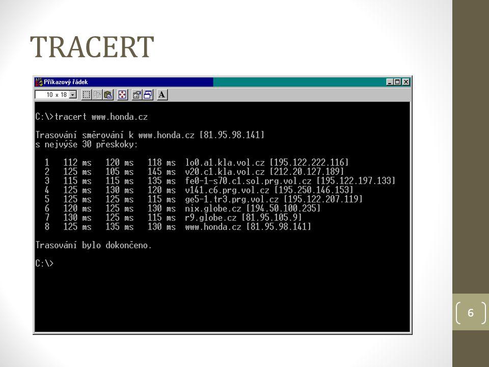 7 Ověření a testování konfigurace protokolu TCP/IP Ipconfig (/all) Ping 127.0.0.1 (loopback –> vazba WXP – TCP/IP) Ping IP adresy zapnutého lokálního počítače Ping IP adresy výchozí brány Ping IP adresy vzdáleného počítače (hosta)