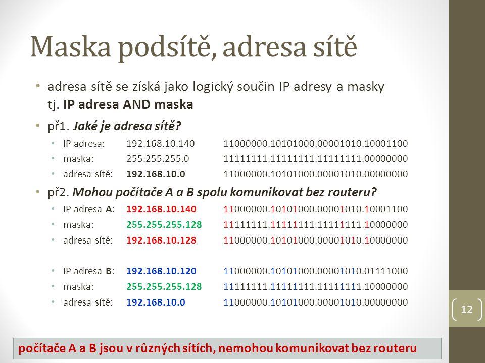 Maska podsítě, adresa sítě adresa sítě se získá jako logický součin IP adresy a masky tj.