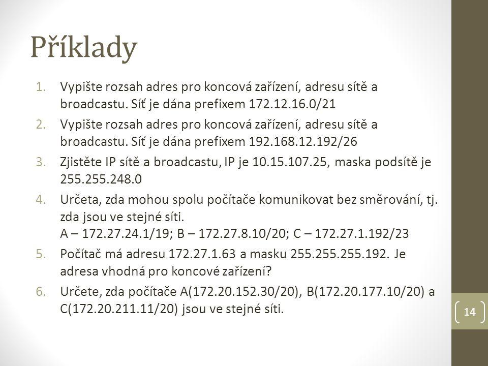 Příklady 1.Vypište rozsah adres pro koncová zařízení, adresu sítě a broadcastu.