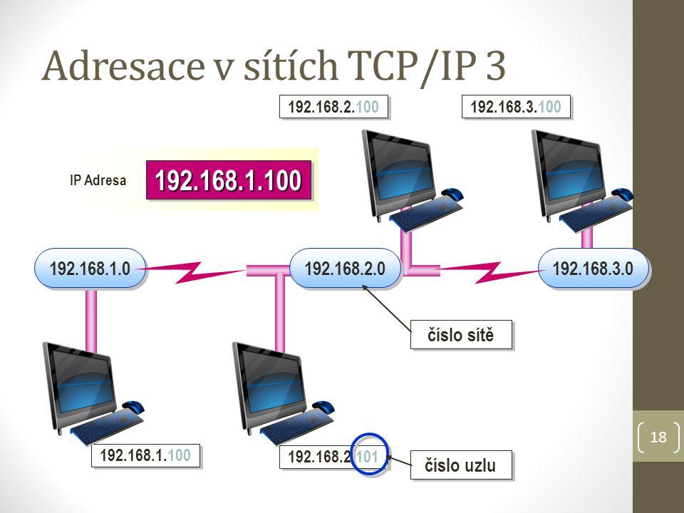 18 Adresace v sítích TCP/IP 3 192.168.1.0 192.168.3.0 192.168.1.100 192.168.2.101 192.168.2.100 192.168.3.100 192.168.2.0 192.168.1.100192.168.1.100 IP Adresa číslo uzlu číslo sítě