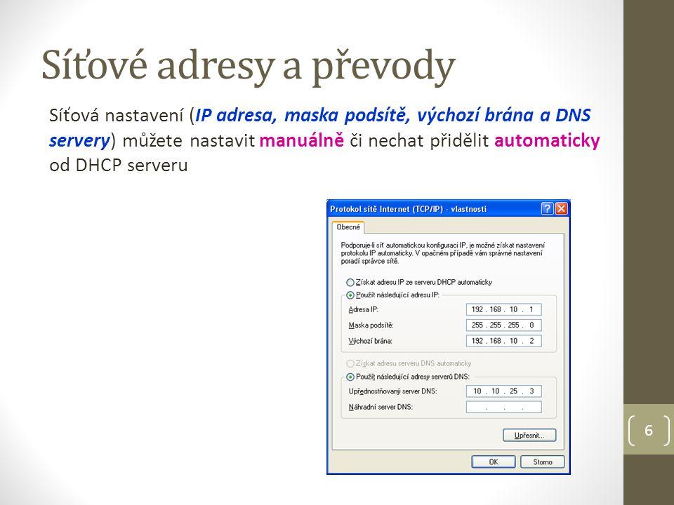 7 IP adresa (verze 4) IPv4 každý uzel musí mít svoji unikátní jedinečnou adresu 32bit adresa zapsaná ve 4 bajtech (oktet) oddělených tečkou IPv4 může adresovat přes 4 mld.