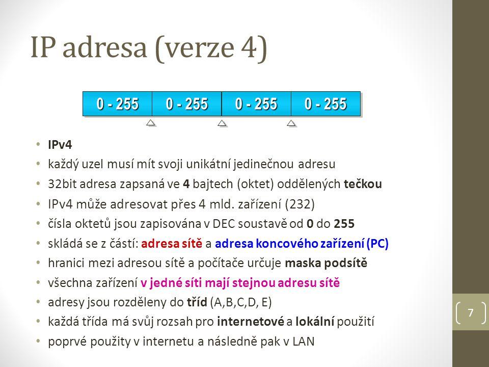 IP adresa (verze 6) IPv6 veřejné IP adresy pomalu docházejí IPv6 nabízí 128 bitové adresování tj.