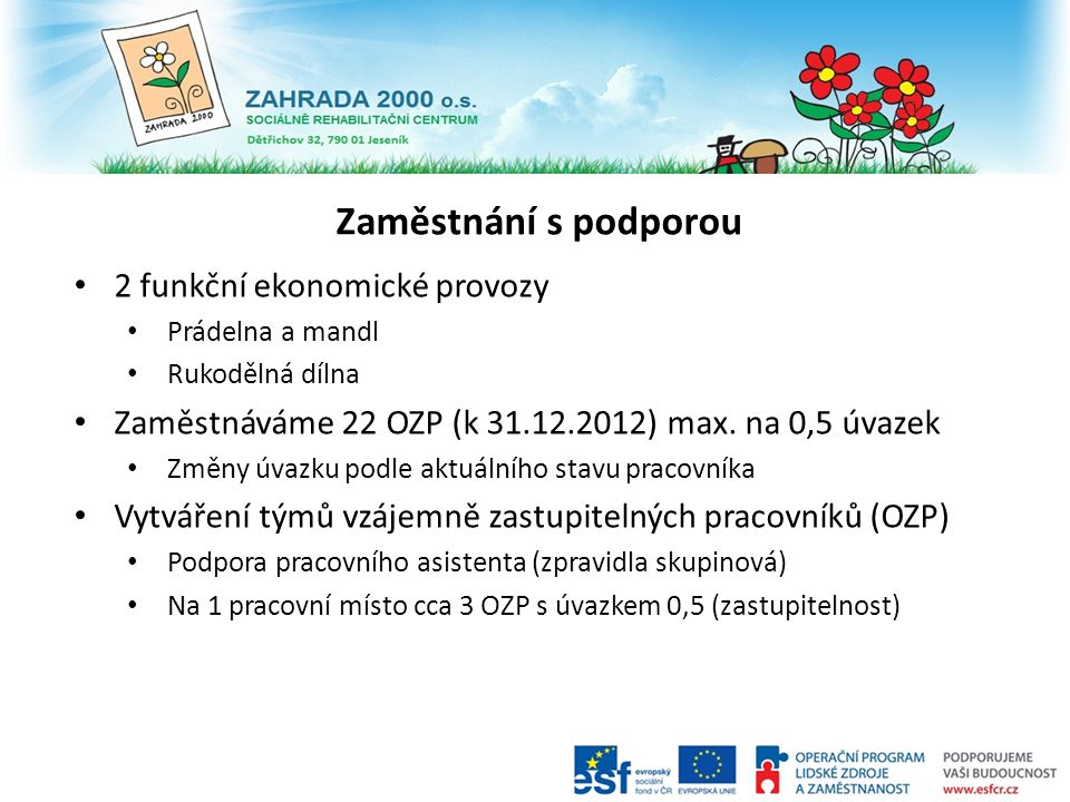 Zaměstnání s podporou 2 funkční ekonomické provozy Prádelna a mandl Rukodělná dílna Zaměstnáváme 22 OZP (k 31.12.2012) max. na 0,5 úvazek Změny úvazku