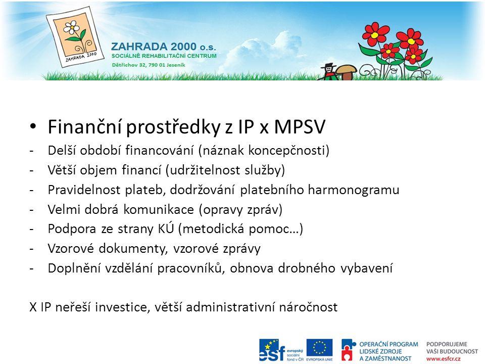 Finanční prostředky z IP x MPSV -Delší období financování (náznak koncepčnosti) -Větší objem financí (udržitelnost služby) -Pravidelnost plateb, dodrž
