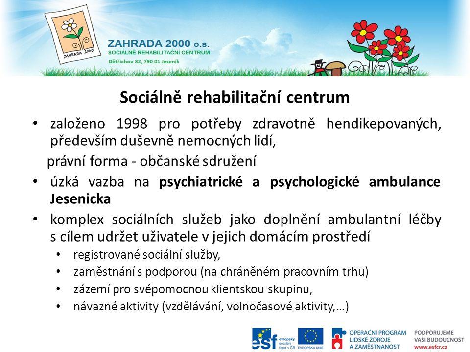 založeno 1998 pro potřeby zdravotně hendikepovaných, především duševně nemocných lidí, právní forma - občanské sdružení úzká vazba na psychiatrické a