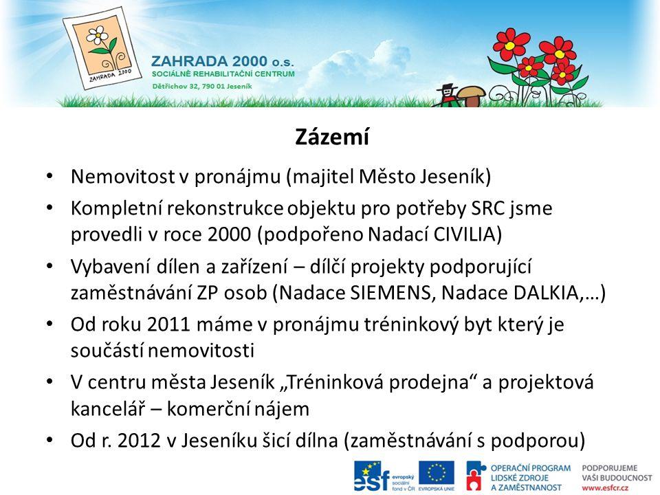 Zázemí Nemovitost v pronájmu (majitel Město Jeseník) Kompletní rekonstrukce objektu pro potřeby SRC jsme provedli v roce 2000 (podpořeno Nadací CIVILI