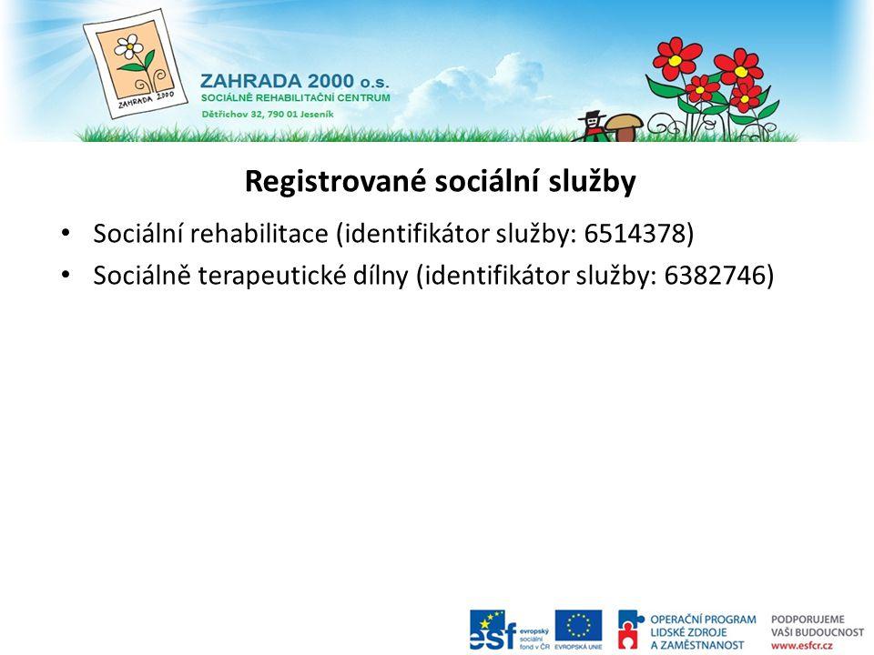 Registrované sociální služby Sociální rehabilitace (identifikátor služby: 6514378) Sociálně terapeutické dílny (identifikátor služby: 6382746)