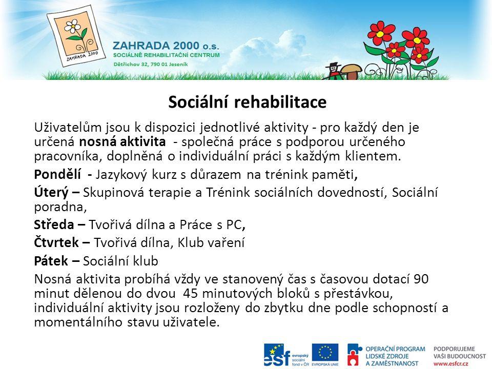 Sociální rehabilitace Uživatelům jsou k dispozici jednotlivé aktivity - pro každý den je určená nosná aktivita - společná práce s podporou určeného pr