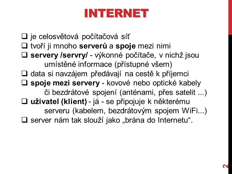 INTERNET 2  je celosvětová počítačová síť  tvoří ji mnoho serverů a spoje mezi nimi  servery /servry/ - výkonné počítače, v nichž jsou umístěné inf