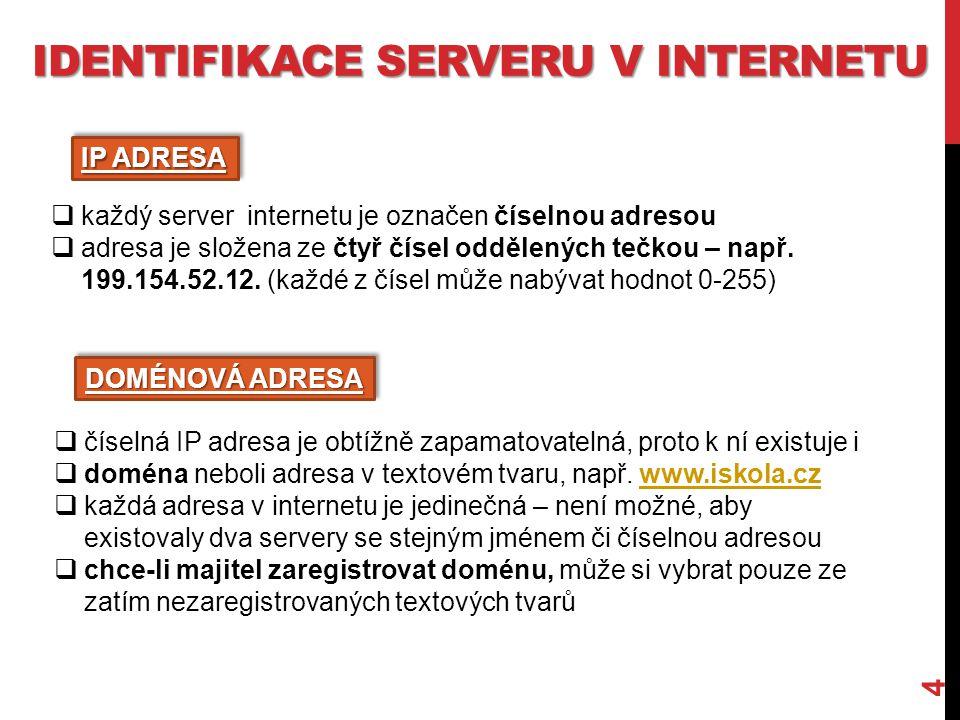 IDENTIFIKACE SERVERU V INTERNETU 4  každý server internetu je označen číselnou adresou  adresa je složena ze čtyř čísel oddělených tečkou – např.