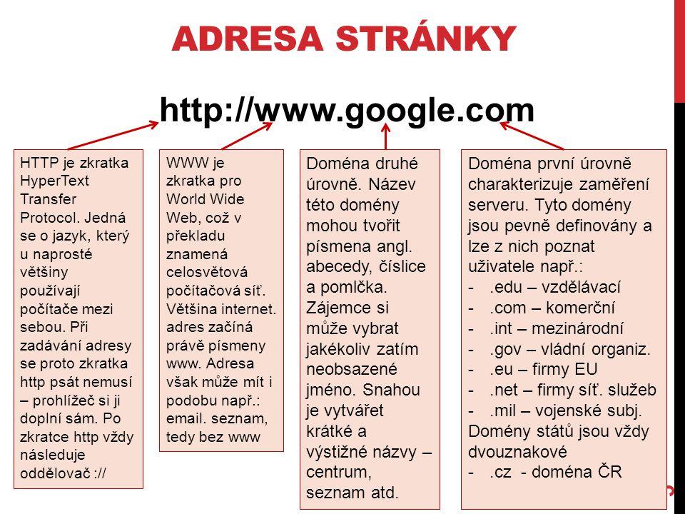 ADRESA STRÁNKY 5 http://www.google.com HTTP je zkratka HyperText Transfer Protocol. Jedná se o jazyk, který u naprosté většiny používají počítače mezi