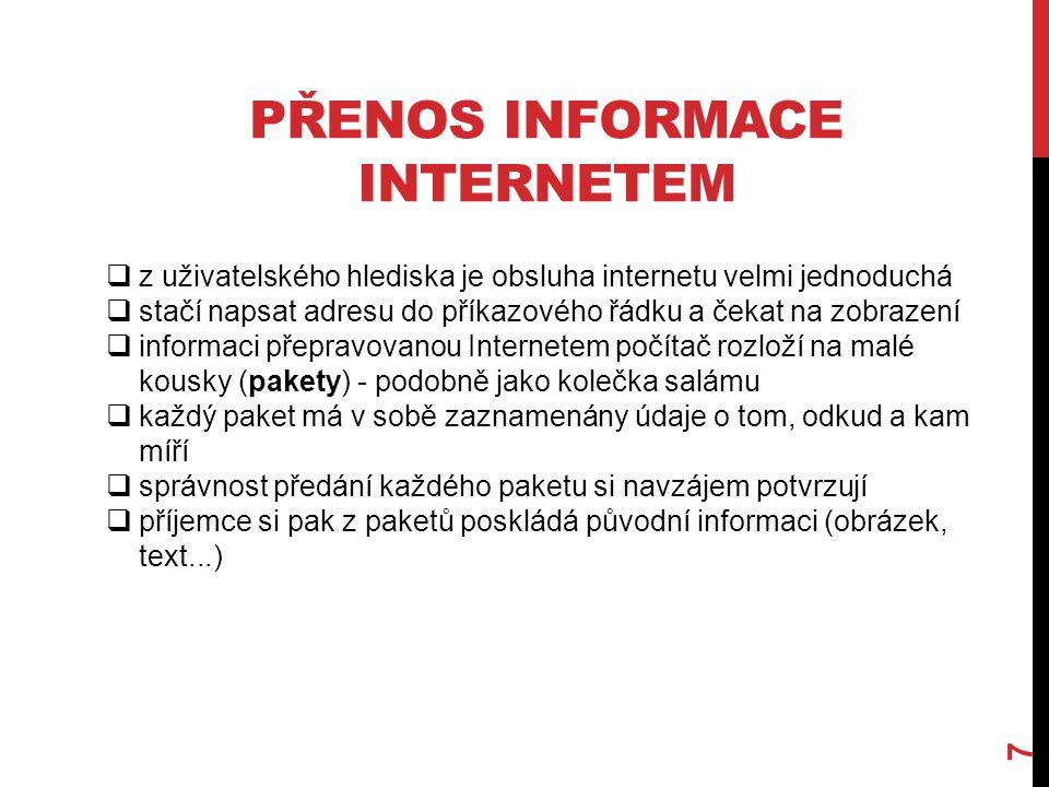 PŘENOS INFORMACE INTERNETEM 7  z uživatelského hlediska je obsluha internetu velmi jednoduchá  stačí napsat adresu do příkazového řádku a čekat na z