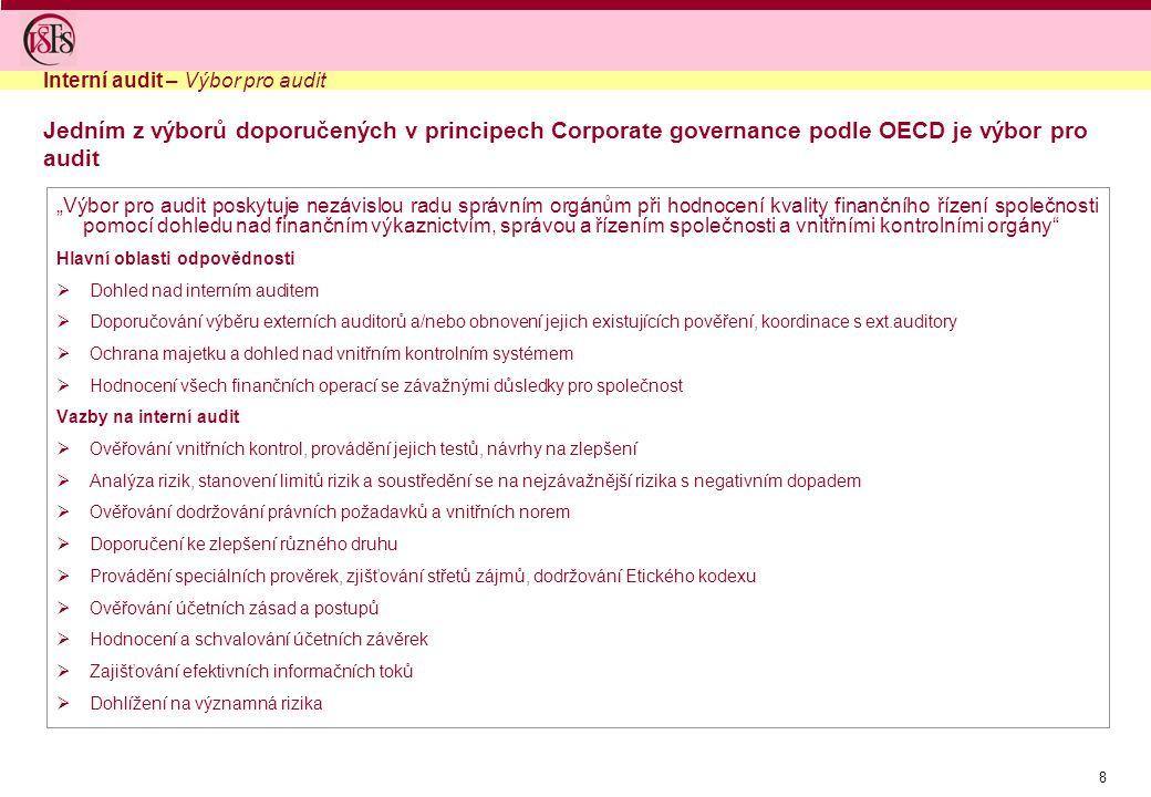 """8 """"Výbor pro audit poskytuje nezávislou radu správním orgánům při hodnocení kvality finančního řízení společnosti pomocí dohledu nad finančním výkazni"""