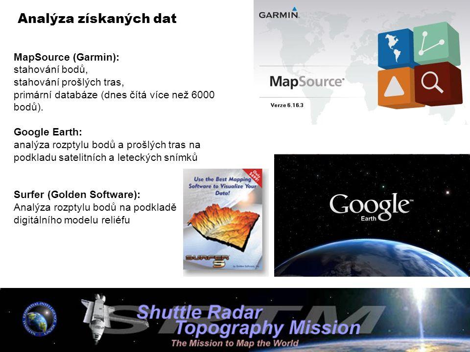 Analýza získaných dat MapSource (Garmin): stahování bodů, stahování prošlých tras, primární databáze (dnes čítá více než 6000 bodů). Google Earth: ana