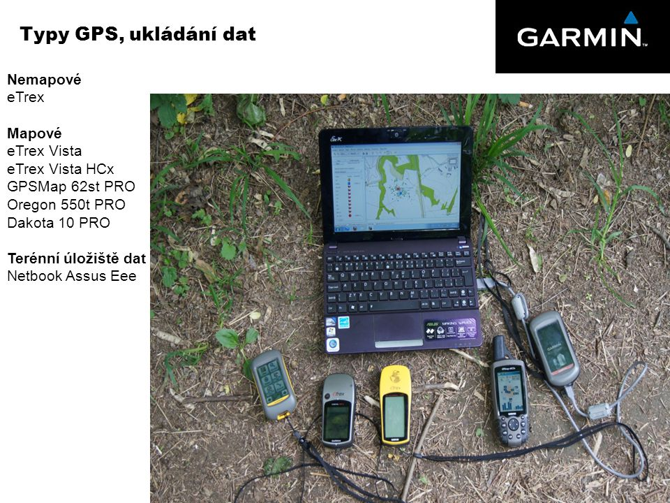 Typy GPS, ukládání dat Nemapové eTrex Mapové eTrex Vista eTrex Vista HCx GPSMap 62st PRO Oregon 550t PRO Dakota 10 PRO Terénní úložiště dat Netbook As