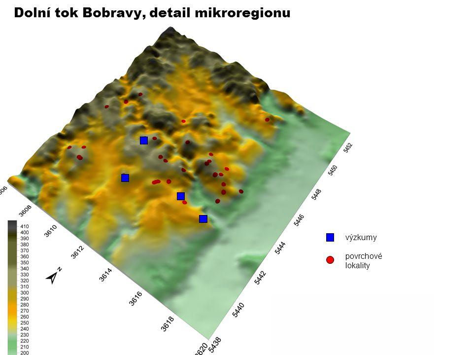Dolní tok Bobravy, detail mikroregionu výzkumy povrchové lokality