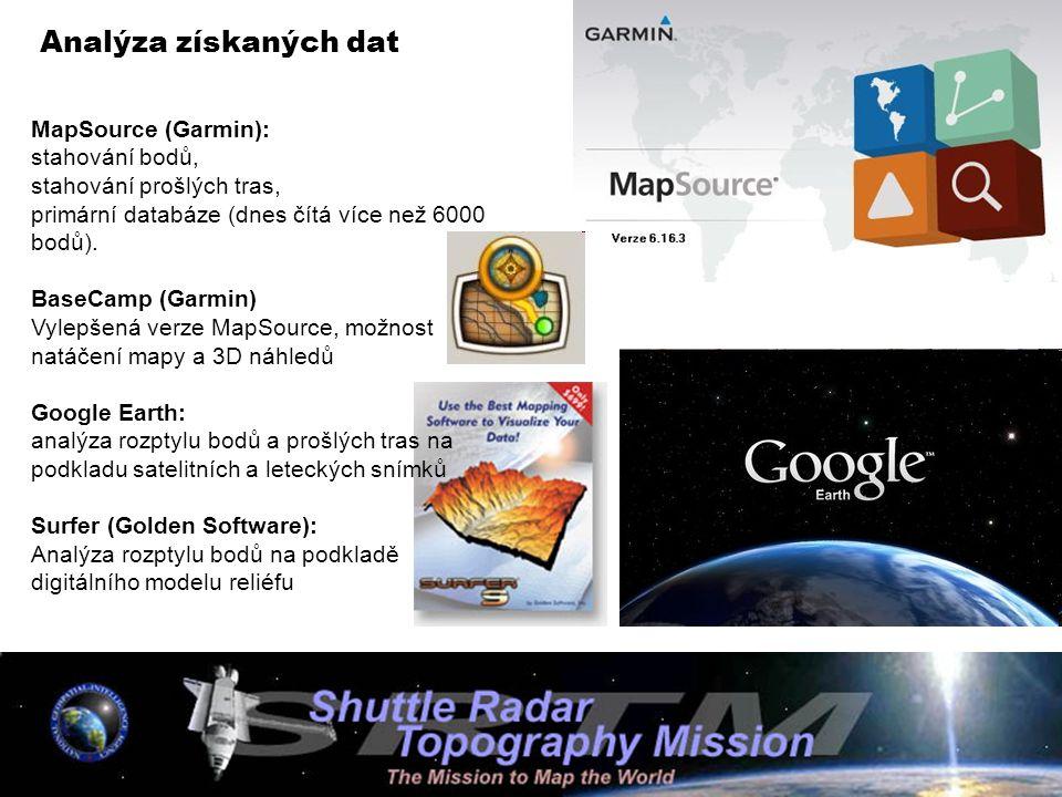 Analýza získaných dat MapSource (Garmin): stahování bodů, stahování prošlých tras, primární databáze (dnes čítá více než 6000 bodů). BaseCamp (Garmin)