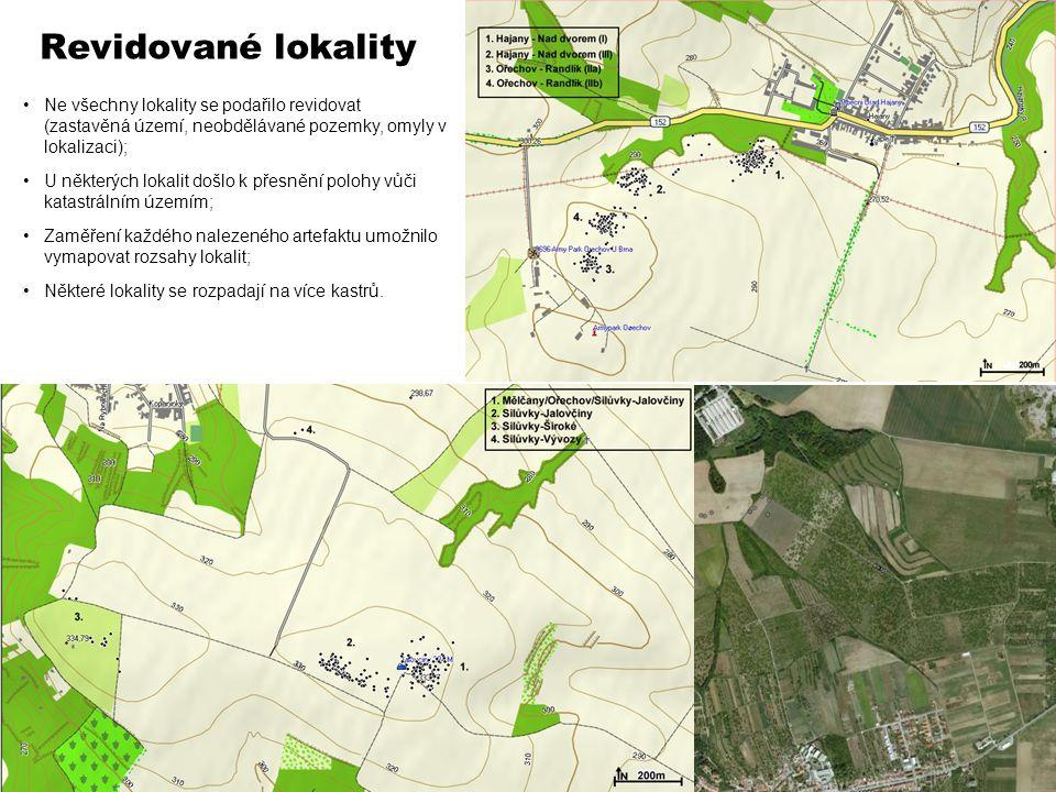 Revidované lokality Ne všechny lokality se podařilo revidovat (zastavěná území, neobdělávané pozemky, omyly v lokalizaci); U některých lokalit došlo k