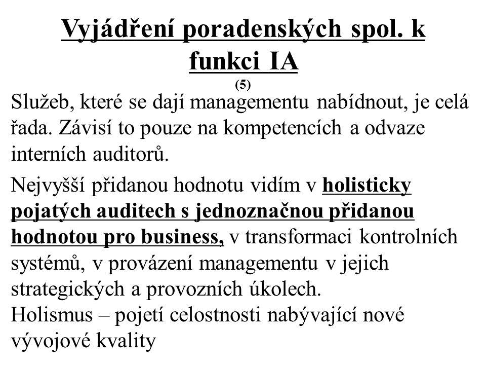 Vyjádření poradenských spol.