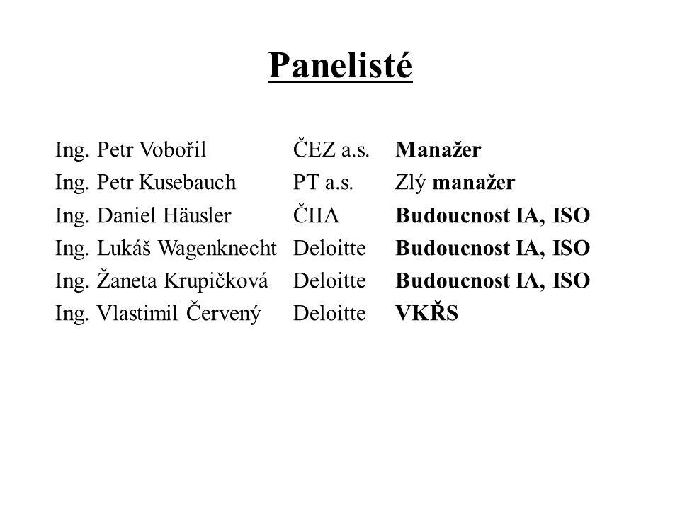 Panelisté Ing. Petr Vobořil ČEZ a.s.Manažer Ing. Petr Kusebauch PT a.s.Zlý manažer Ing.
