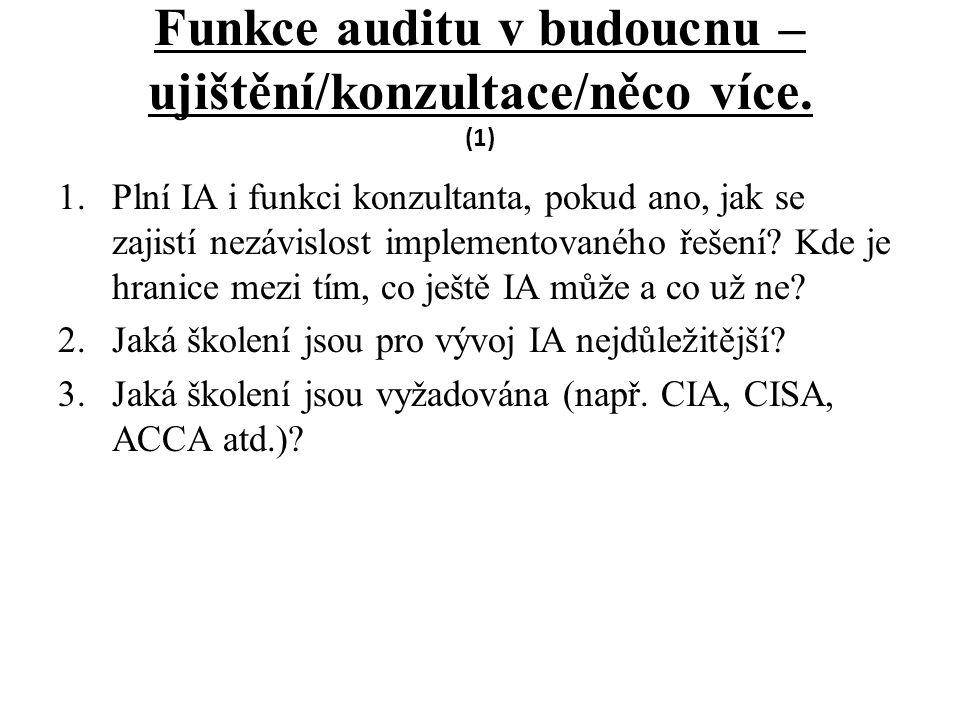 Funkce auditu v budoucnu – ujištění/konzultace/něco více.