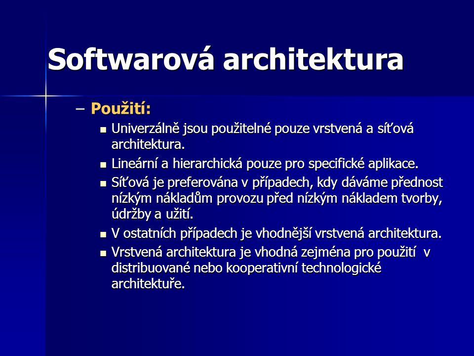 Softwarová architektura –Použití: Univerzálně jsou použitelné pouze vrstvená a síťová architektura.