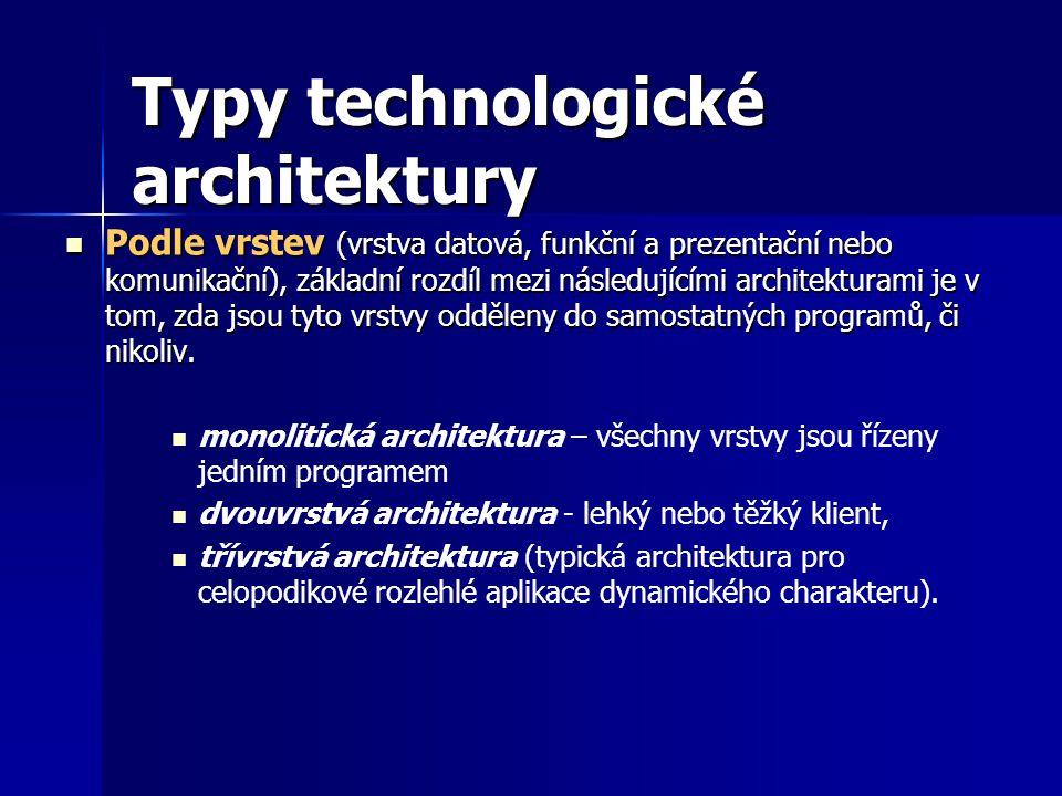 Typy technologické architektury Podle vrstev (vrstva datová, funkční a prezentační nebo komunikační), základní rozdíl mezi následujícími architekturami je v tom, zda jsou tyto vrstvy odděleny do samostatných programů, či nikoliv.