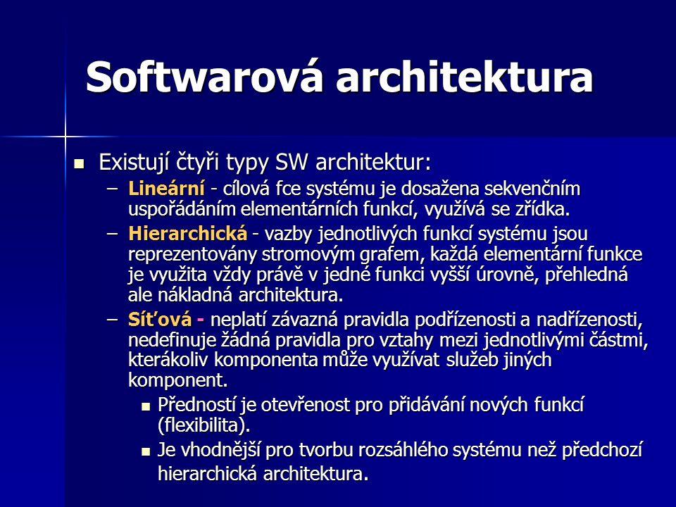 Softwarová architektura Existují čtyři typy SW architektur: Existují čtyři typy SW architektur: –Lineární - cílová fce systému je dosažena sekvenčním uspořádáním elementárních funkcí, využívá se zřídka.