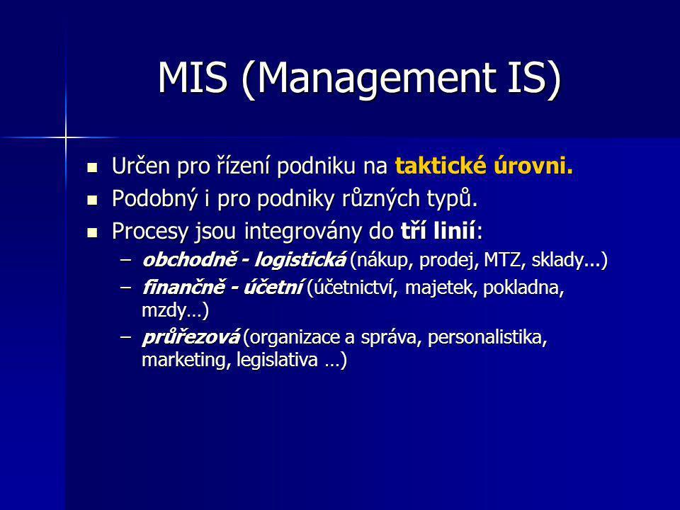 MIS (Management IS) Určen pro řízení podniku na taktické úrovni. Určen pro řízení podniku na taktické úrovni. Podobný i pro podniky různých typů. Podo