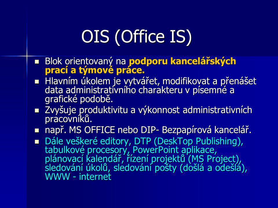 OIS (Office IS) Blok orientovaný na podporu kancelářských prací a týmové práce. Blok orientovaný na podporu kancelářských prací a týmové práce. Hlavní