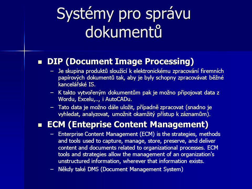 Systémy pro správu dokumentů DIP (Document Image Processing) DIP (Document Image Processing) –Je skupina produktů sloužící k elektronickému zpracování