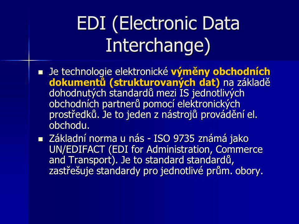 EDI (Electronic Data Interchange) Je technologie elektronické výměny obchodních dokumentů (strukturovaných dat) na základě dohodnutých standardů mezi