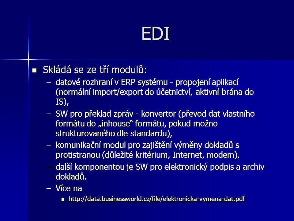 EDI Skládá se ze tří modulů: Skládá se ze tří modulů: –datové rozhraní v ERP systému - propojení aplikací (normální import/export do účetnictví, aktiv