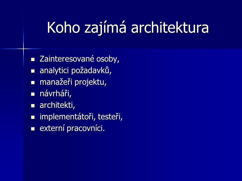 Koho zajímá architektura Zainteresované osoby, Zainteresované osoby, analytici požadavků, analytici požadavků, manažeři projektu, manažeři projektu, n