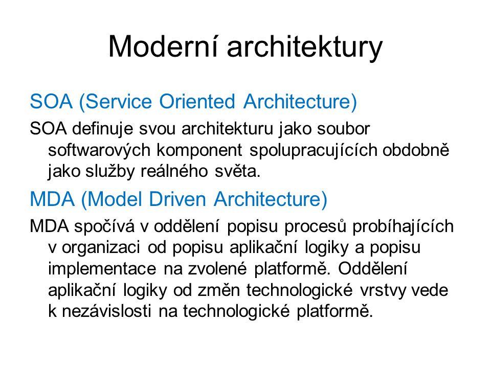 Moderní architektury SOA (Service Oriented Architecture) SOA definuje svou architekturu jako soubor softwarových komponent spolupracujících obdobně ja