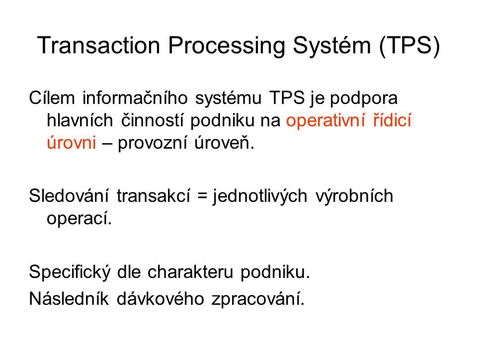 Transaction Processing Systém (TPS) Cílem informačního systému TPS je podpora hlavních činností podniku na operativní řídicí úrovni – provozní úroveň.