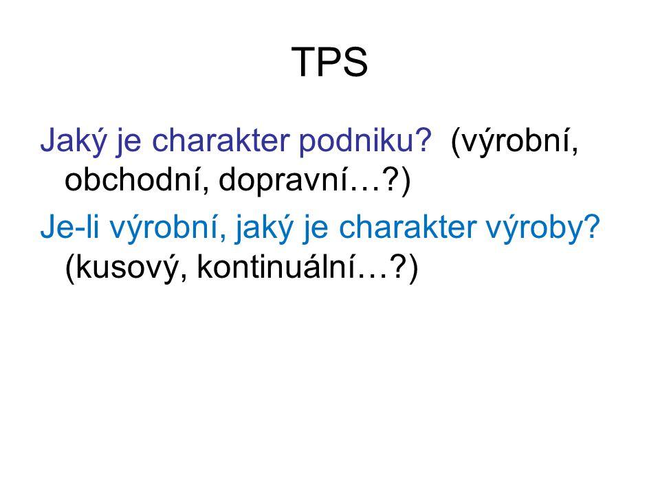 TPS Jaký je charakter podniku? (výrobní, obchodní, dopravní…?) Je-li výrobní, jaký je charakter výroby? (kusový, kontinuální…?)