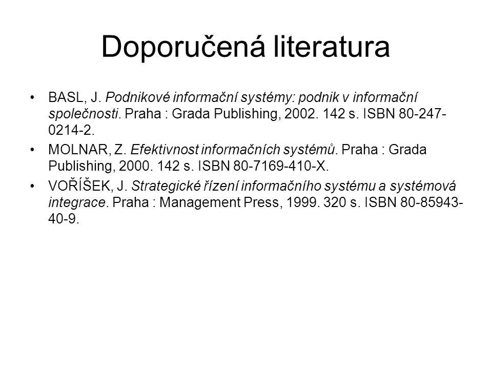Doporučená literatura BASL, J. Podnikové informační systémy: podnik v informační společnosti. Praha : Grada Publishing, 2002. 142 s. ISBN 80-247- 0214