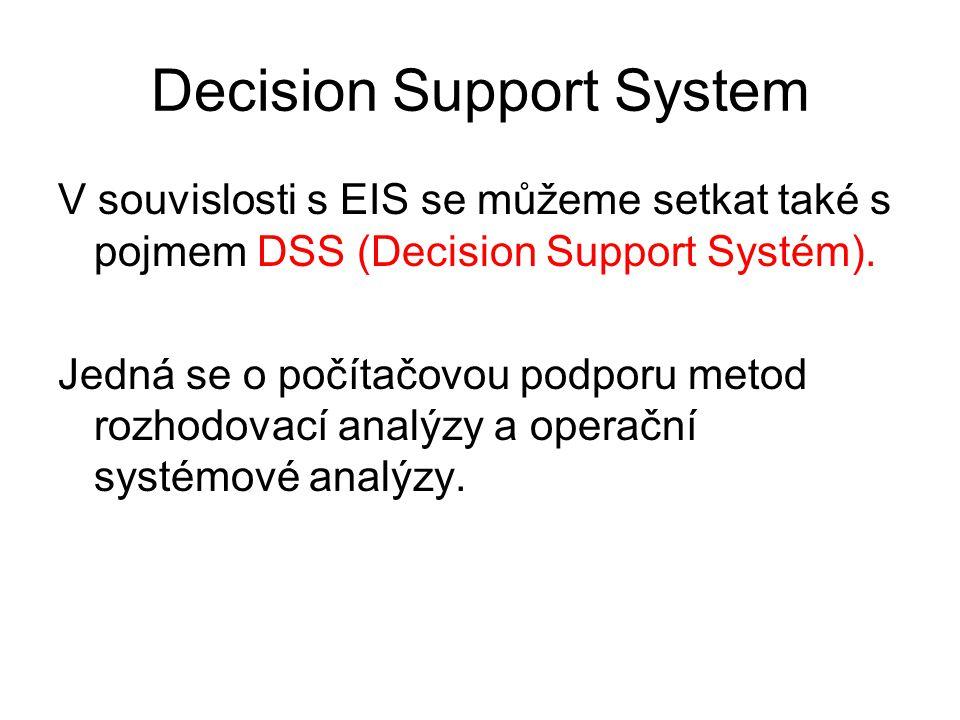 Decision Support System V souvislosti s EIS se můžeme setkat také s pojmem DSS (Decision Support Systém). Jedná se o počítačovou podporu metod rozhodo