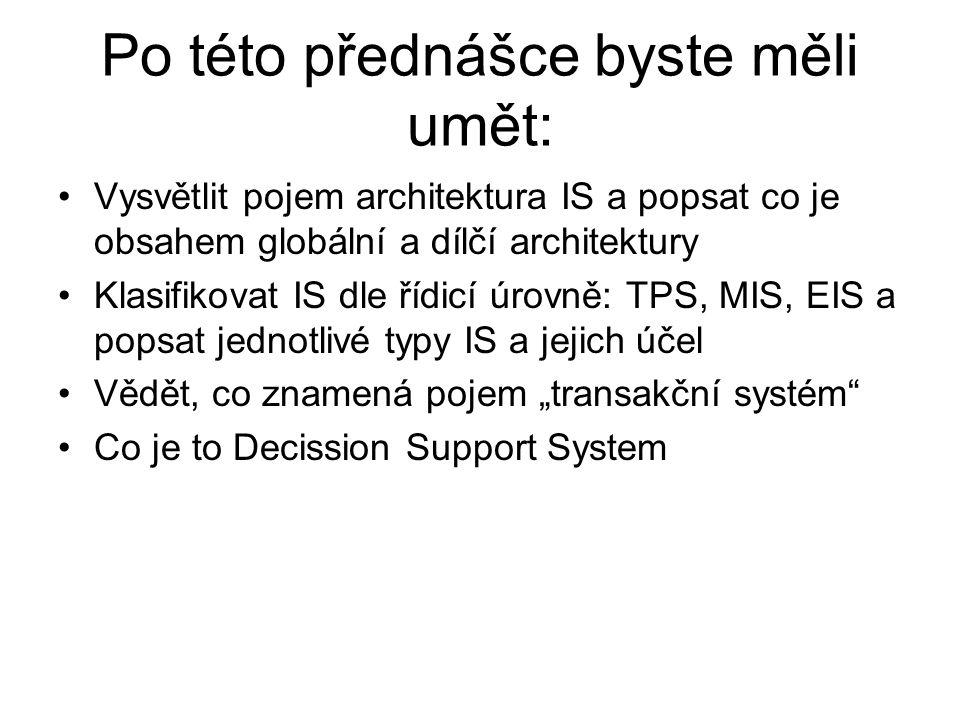 Po této přednášce byste měli umět: Vysvětlit pojem architektura IS a popsat co je obsahem globální a dílčí architektury Klasifikovat IS dle řídicí úro