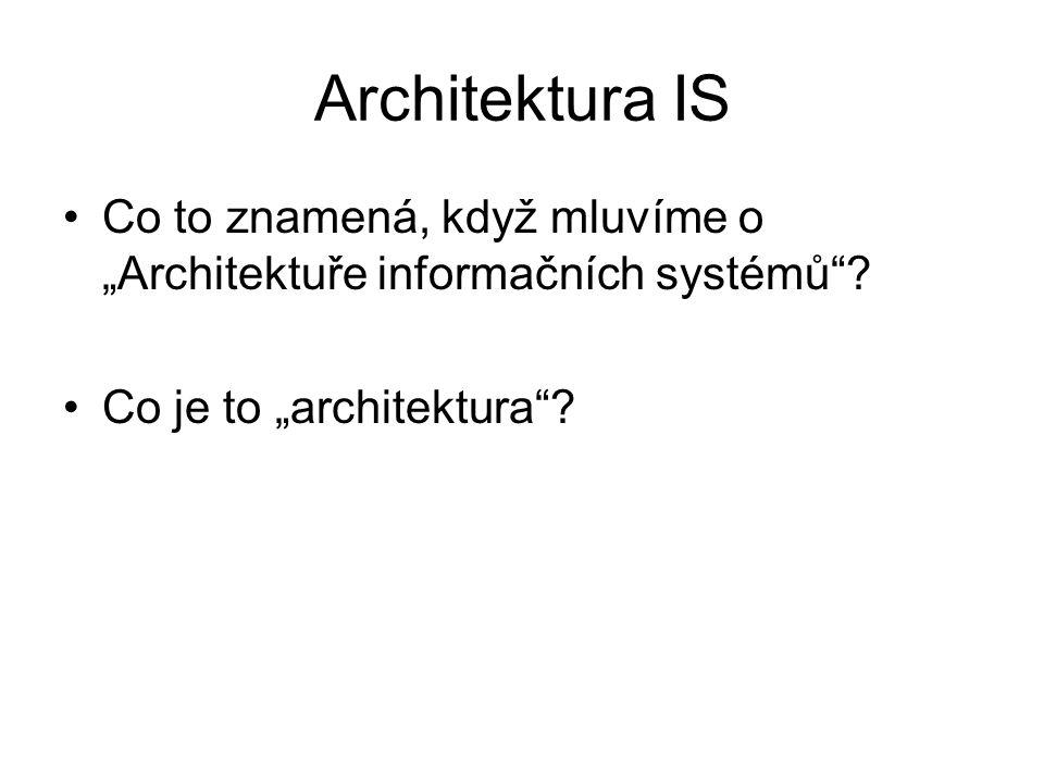 """Architektura IS Co to znamená, když mluvíme o """"Architektuře informačních systémů""""? Co je to """"architektura""""?"""