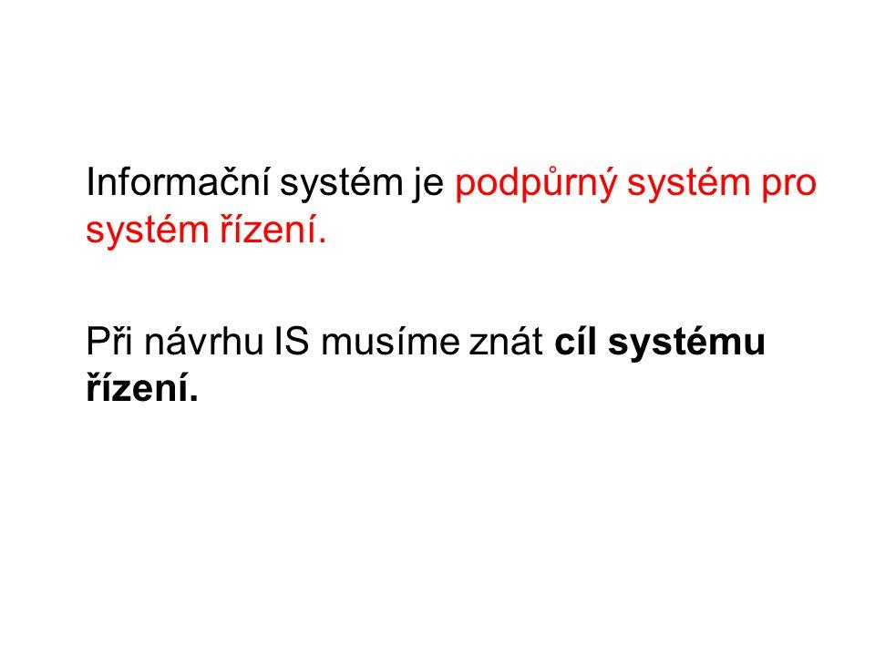 Informační systém je podpůrný systém pro systém řízení. Při návrhu IS musíme znát cíl systému řízení.