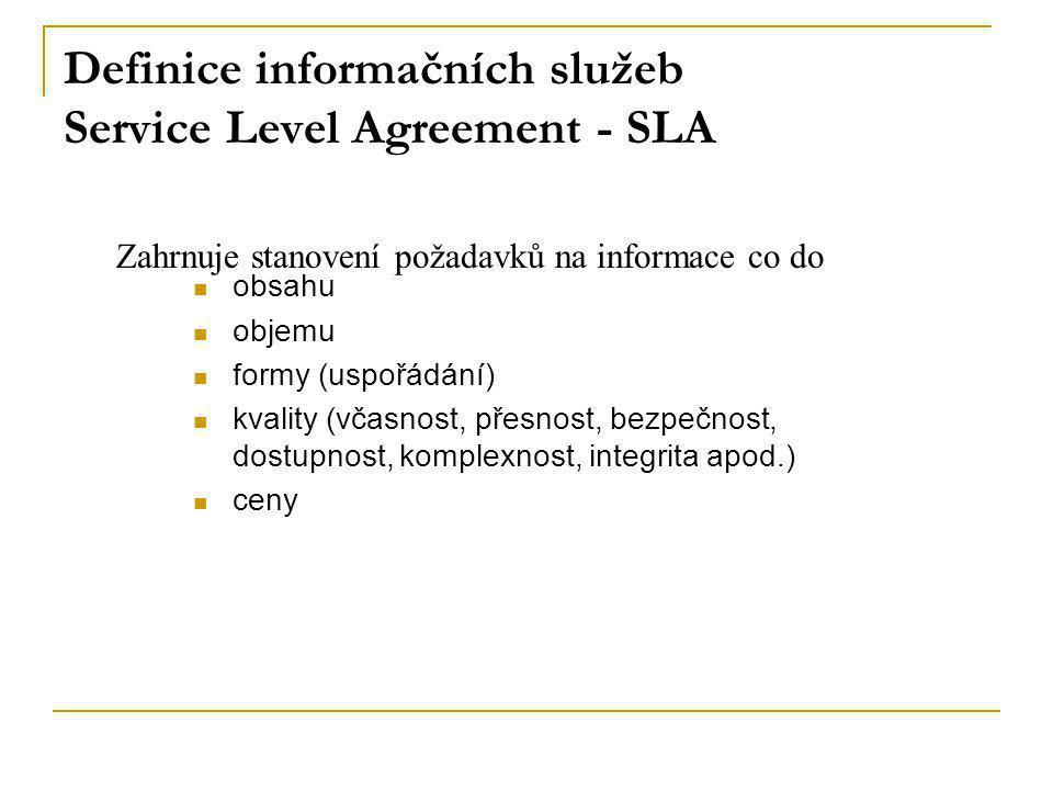 Definice informačních služeb Service Level Agreement - SLA Zahrnuje stanovení požadavků na informace co do obsahu objemu formy (uspořádání) kvality (v
